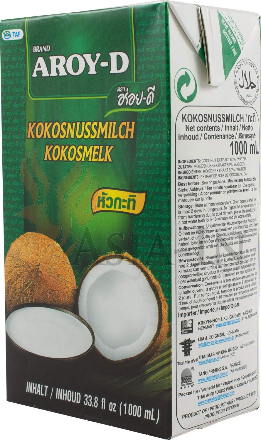 100% Coconut Milk - 33.8 oz packages (1-pack) by Aroy-D (Image #2)