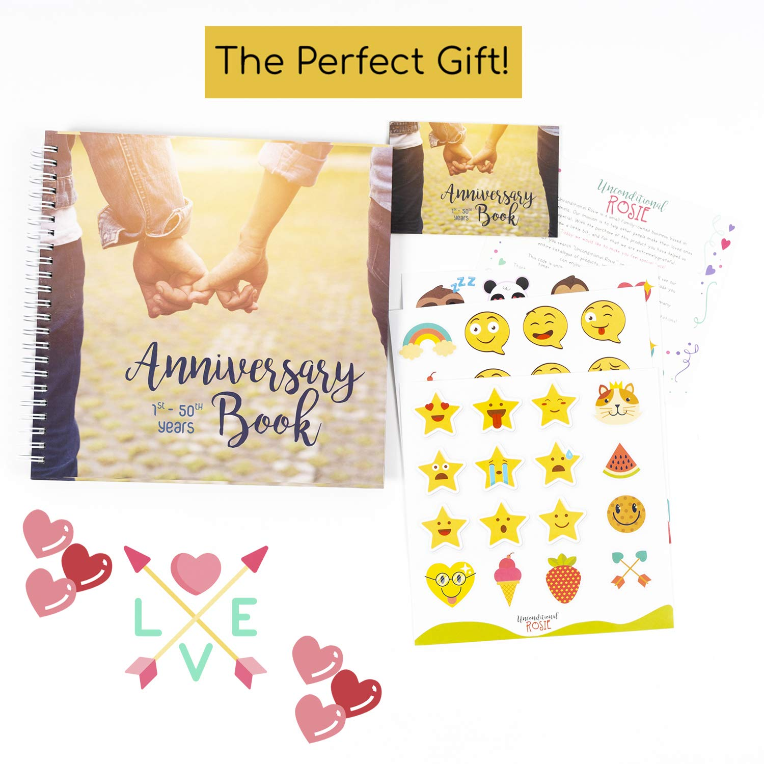 A Hardcover Journal To Document Anniversaries From The 1st To the 50th Year Personalized Marriage Presents For Husband /& Wife. Wedding Anniversary Memory Book Unique Couple Gifts For Him /& Her