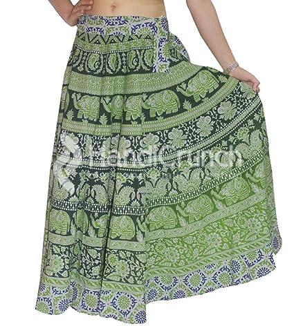 Falda para Mujer India de algodón Largo Elefante Verde Mandala ...