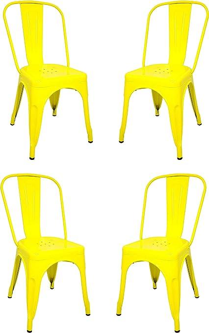 La Silla Española - Pack 4 Sillas estilo Tolix con respaldo. Color Amarillo. Medidas 85x54x45,5: Amazon.es: Hogar