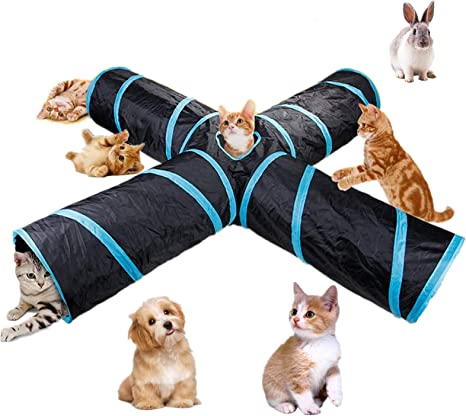 Nobranded 4 Way Cat Tunnel Large indoor outdoor Collapsible Pet Toy Crinkle Tunnel Tube with Storage Bag for Cat Dog Puppy Kitty Kitten Rabbit Tent
