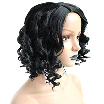 Anogol Hair Cap+Synthetic Hair Cabelo Short Curly Wig Peluca Black Wigs For Women Fancy