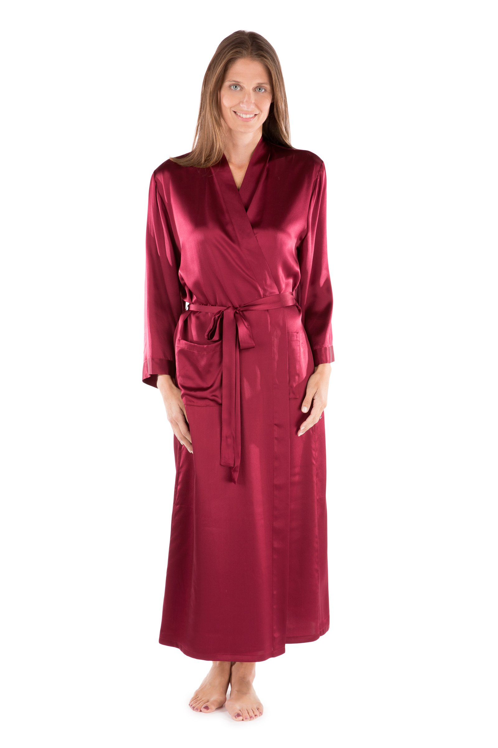 Women's 100% Long Silk Robe - Luxury Bathrobe by TexereSilk (Perla Naturale, Wine, Small/Medium) Luxury Gifts for Daughter Wife Fiancee WS0101-WNE-SM