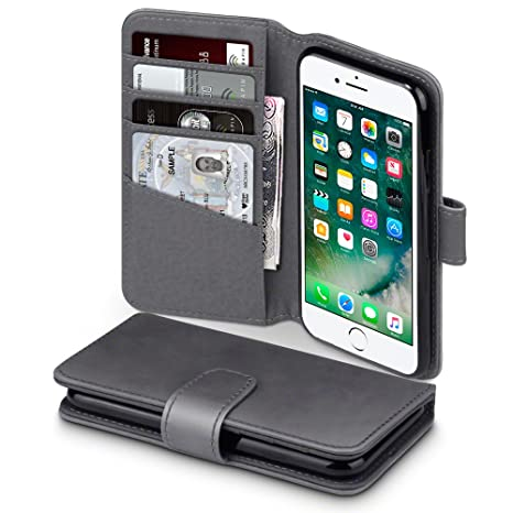 iPhone 8 / iPhone 7 Funda Cartera de auténtico cuero, tapa delantera con billetera para