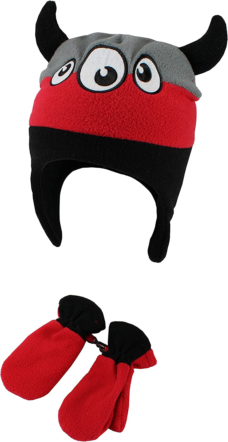 Polar Wear Toddler Boys Hat And Mittens Sets Gray//Red