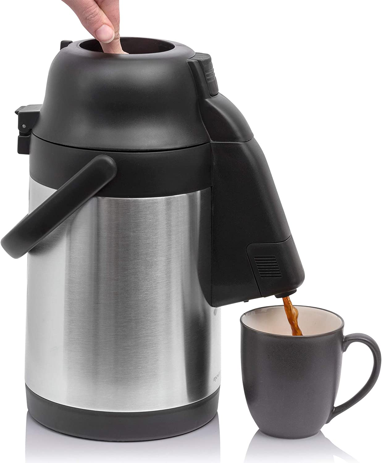 New 101 Oz (3 Liter) Airpot Coffee Dispenser with Extendable Nozzle | Stainless Steel Double-Wall Carafe | BPA-Free Vacuum Insulated Thermos | Keeps Beverages Hot (Warm up to 12 Hrs) or Cold (24 Hrs)