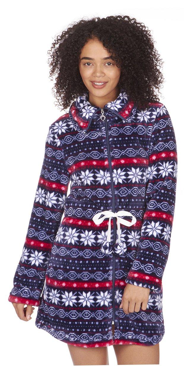 Mujer Fair Isle franela forro polar con cremallera corto de camisón/bata. Color rojo