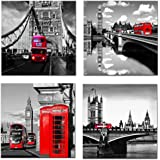 Amosi Art - Canvas Print Wall Art Painting 4 Panels London Street Scene Classical Red London Bus,Bridge and Tower City Painting Modern Art Picture Stretched by Framed Ready to Hang for Living Room Home Decoration (30x30cmx4pcs)