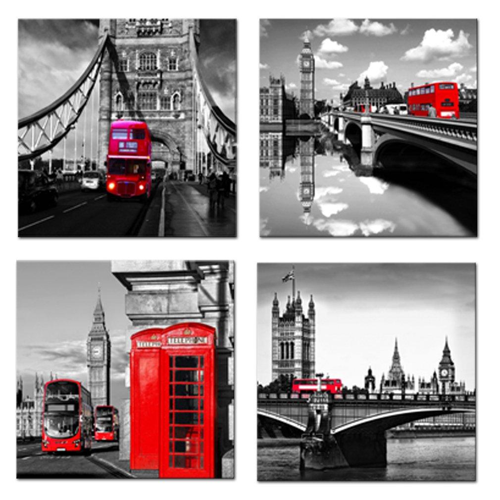Amosi Art–4 toiles murales imprimées Motif Londres Scène de rue Bus Londonien classique Rouge, Pont et Tower City Art moderne Tableaux encadrés prêts à suspendre pour le salon Décoration de la Maison, Red, 12x12inchx4pcs Art0999