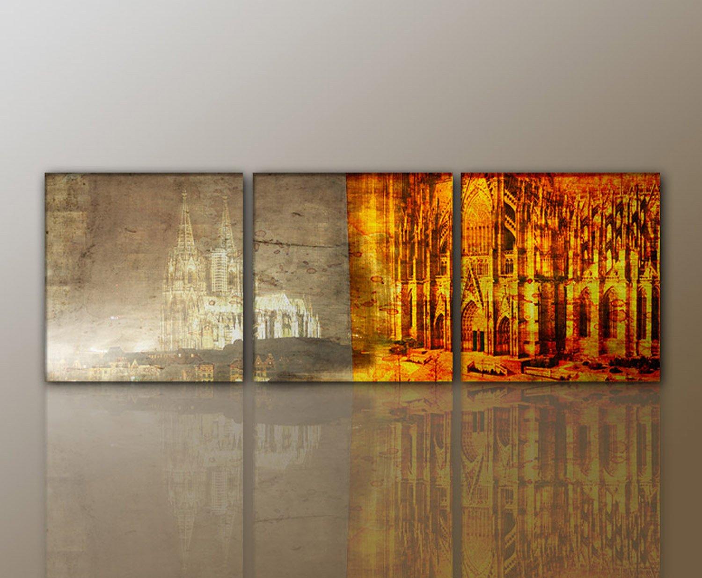 3 Teiliges WANDBILD Abstrakt Kln Cologne MODERN STYLISCH Leinwandbild Cologne2 3teilig 50x50 160x50cm Traumhaft Bilder Fertig Gerahmt Mit Keilrahmen