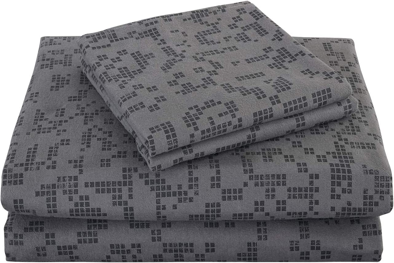 Amazon Com Phf Flannel Sheet Set Cotton Deep Pocket Home Decorations Bedding Warm Heavyweight For Winter Queen Size Charcoal Kitchen Dining