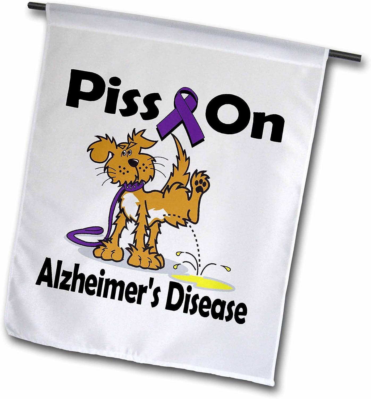 3dRose fl_115780_1 Piss on Alzheimer's Disease Awareness Ribbon Cause Design Garden Flag, 12 by 18-Inch