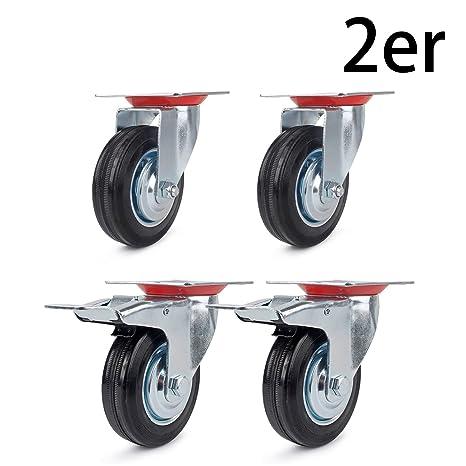 4 ruedas 85 mm + 4 ruedas con freno 85 mm , ruedas de transporte carga pesada ...