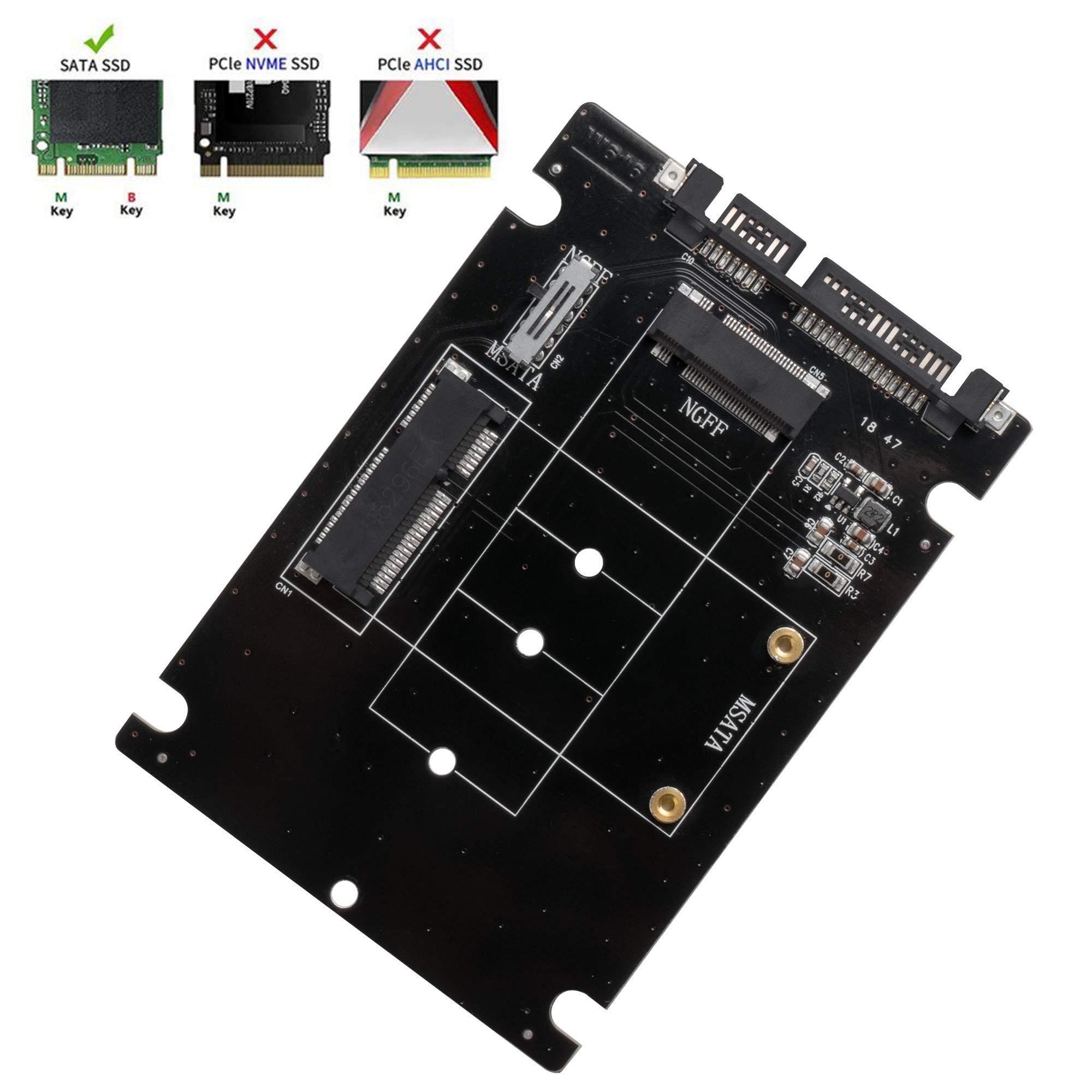 Adaptador QNINE M.2 o MSATA a SATA 3.0, tarjeta 2 en 1 compatible con Mini SATA o Ngff B Key SSD Converter a disco duro