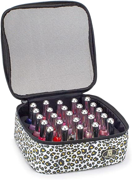 Roo Beauty - Estuche para esmalte de uñas, bolsa de almacenamiento de manicura, soporte para cosméticos de maquillaje en leopardo de nieve: Amazon.es: Belleza