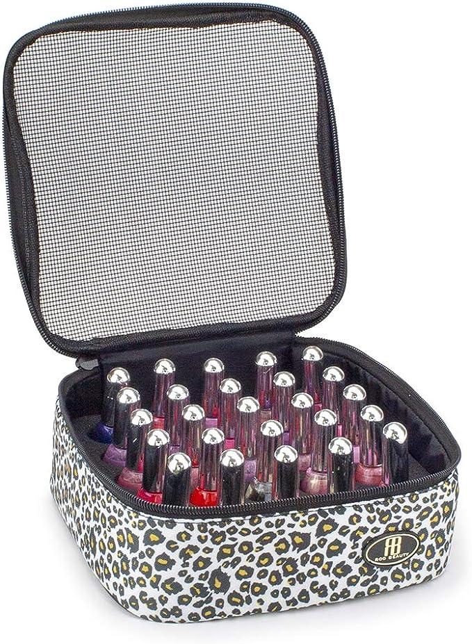 Roo Beauty - Cubo de esmalte de uñas, bolsa de almacenamiento de manicura, estuche de maquillaje en leopardo de nieve: Amazon.es: Belleza