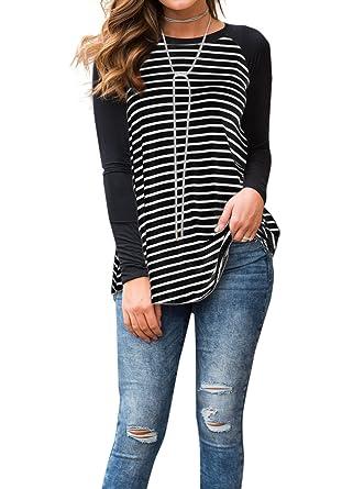 fbba1bba Adreamly Women's Black and White Striped Long Sleeve Baseball T Shirt  Blouse Tunic Tops Black Small
