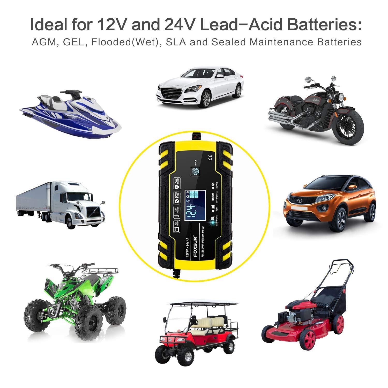 pour Batterie de Voiture Tondeuse /à Gazon Chargeur de Batterie Etc Moto Plusieurs Protections and 6 modes charge BUDDYGO 12V 8Amp//24V 4Amp Booster Voiture Mainteneur Intelligent avce /Écran LCD