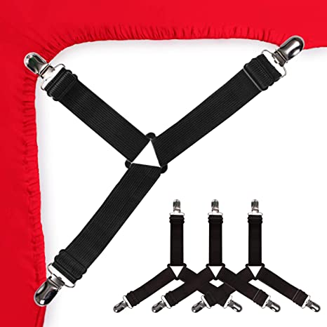 Adjustable Bed Bands 4 pcs Black Elastic Triangle Fasteners//Grippers//Suspenders AILZPXX Bed Sheet Holder Corner Straps Mattress Cover Clips to Hold Sheets in Place