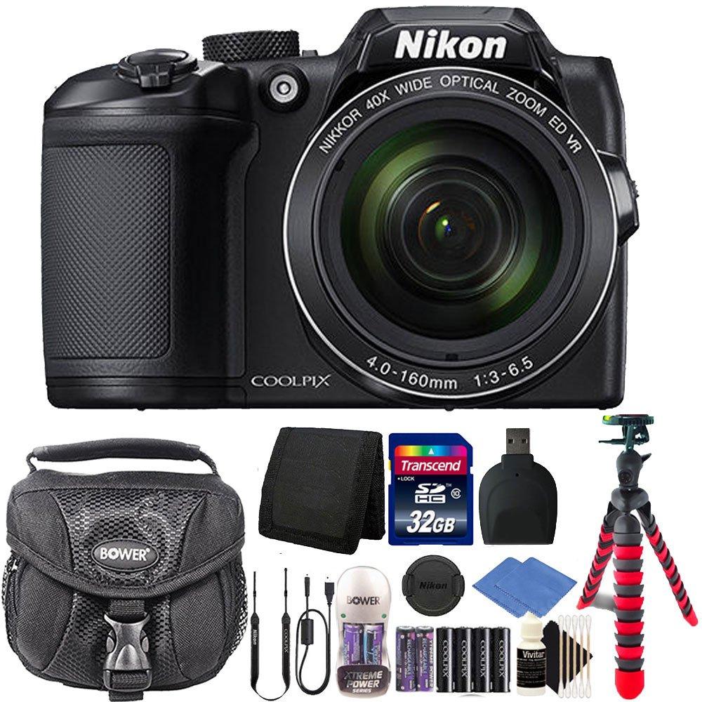 Nikon Coolpix b500 16 MPデジタルカメラ+ 32 GBブラックアクセサリーキット& extrabattery   B06XFWT1TY