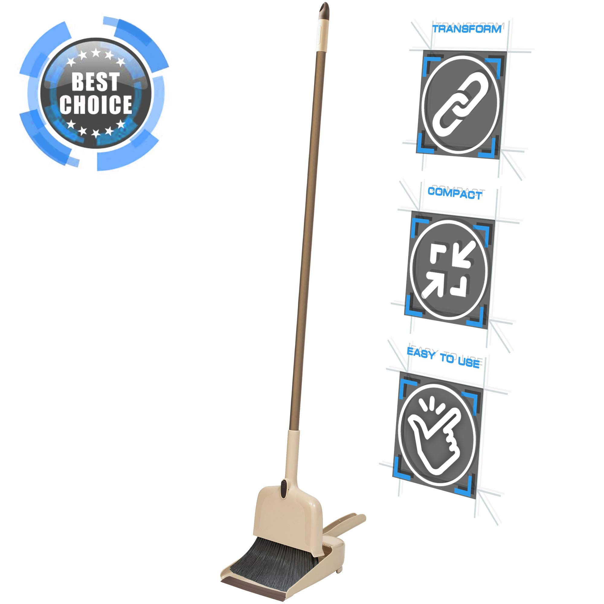 4 in 1 Broom and Dustpan Set with Stainless Handle for Floor and Ceiling. Improved Easy Cleaning. Scraper & Floor Squeegee.
