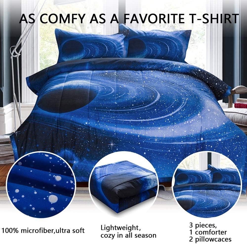 2Pcs 1 Galaxy Comforter /& 1 Pillowcases 68x88 Inch Universe Cloud Galaxy Comforter Set for Boy Girl Teen Kid PomCo Galaxy Comforter Twin 3D Space Outer Sky Microfiber Bedding Set