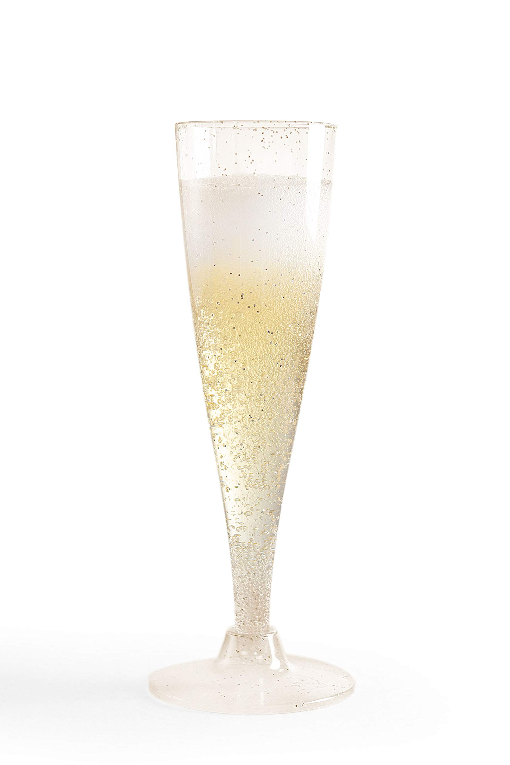 ASK Set of 50 Disposable Gold Glitter Plastic Champagne Flutes Made of Hard Plastic Toasting Clear Glasses – Perfect for…