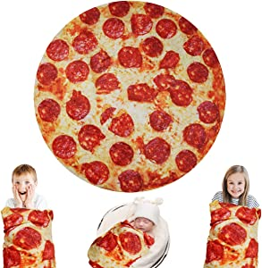Lhedon Giant Pizza Blanket Kids 60 Inch,Plush Wrap Blanket Throw,Realistic Food Flannel Pet Blanket Towel,Gift for Teens Boys Girls - Bed/Sofa/Couch/Travel