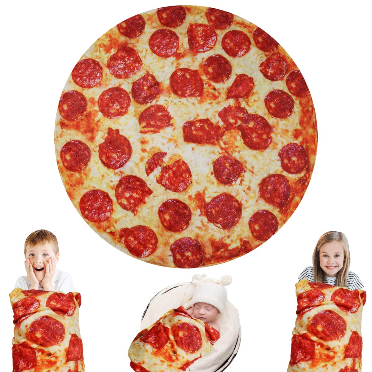 Lhedon Giant Pizza Blanket Kids 60 InchPlush Wrap Blanket ThrowRealistic Food Flannel