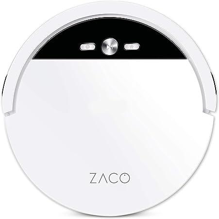 ZACO V4 - Robot aspirador con 4 Modos de Limpieza y Limpieza para Pelo de Mascota, Modo Max y Autocarga, fácil Manejo y Programación con El Mando a Distancia, Color Blanco Perla: