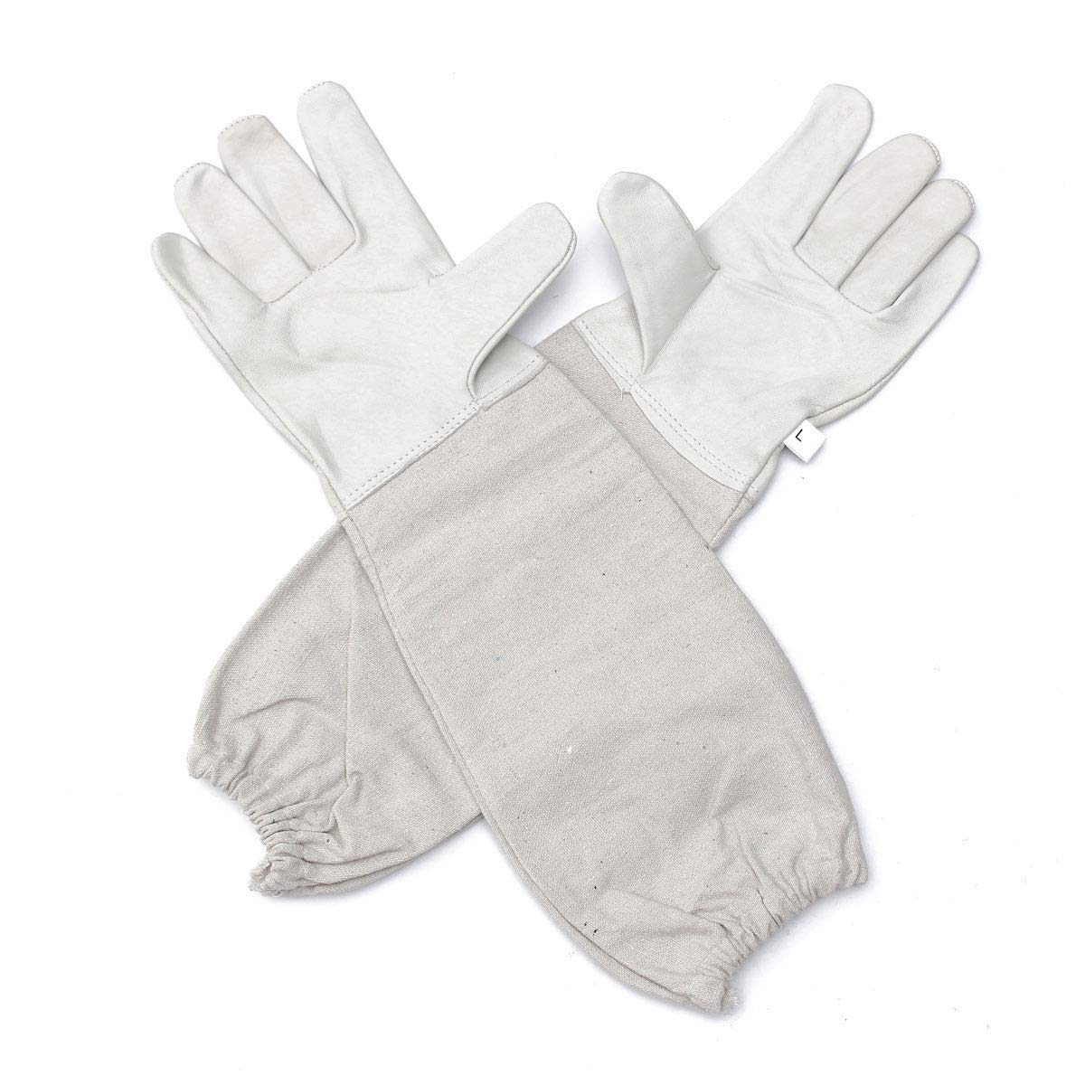 Beekeepers Bee Keeping Gloves - Soft White Goats Leather with Cotton Gauntlets (Small) Swift Wears