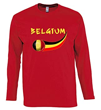 Supportershop – Camiseta para Hombre L/S Rojo Fútbol Bélgica, T-Shirt Homme