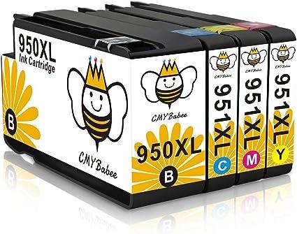 950XL 951XL Cartuchos de Tinta CMYBabee de Reemplazo para HP 950 XL 951 XL Alto Rendimiento Compatible con Impresoras HP Officejet Pro 8100 8600 8610 (1 Negro, 1 Cian, 1 Magenta, 1 Amarillo): Amazon.es: Oficina y papelería
