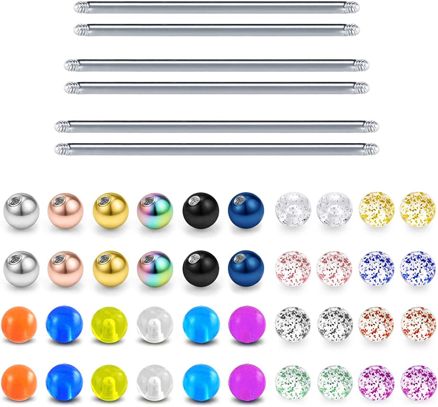 D.Bella Replacement Balls Surgical Steel Straight Bar Body Piercing Jewelry Barbell Parts 14G 32mm 35mm 38mm Bar Length