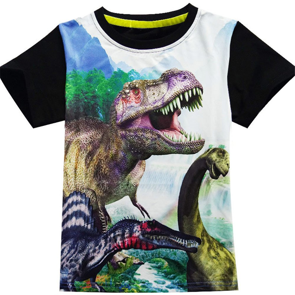 Boys Shirts Toddler T-Rex Short Sleeve T-Shirts, Dinosaur Tops Tee Shirt for Kids (6T,Black)