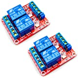 HiLetgo 2pcs DC 12V 2 Channel Relay Module with Isolated Optocoupler High and Low Level H/L Level Trigger Module Triggered by