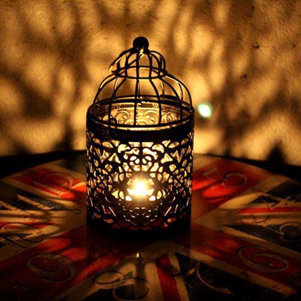 Ruikey retro portacandela metallo Hollow lanterne creative wedding Home Table D/écor Style a