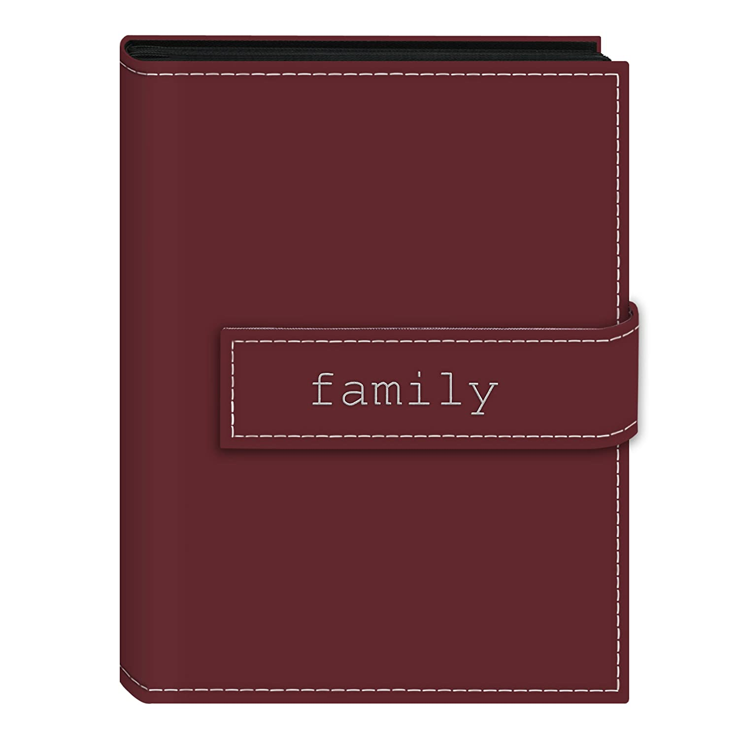 Pioneer Photo Albums 36-Pocket 5 by 7-Inch EmbroideredFamily Strap Sewn Leatherette Cover Photo Album, Mini, Burgundy EXP-57/BF