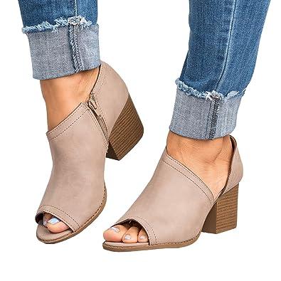 Women Slip On Fashion Vegan Suede Cut Out Peep Toe Chunky Block Stacked Low Heel Ankle Booties (7.5 B(M) US Khaki)