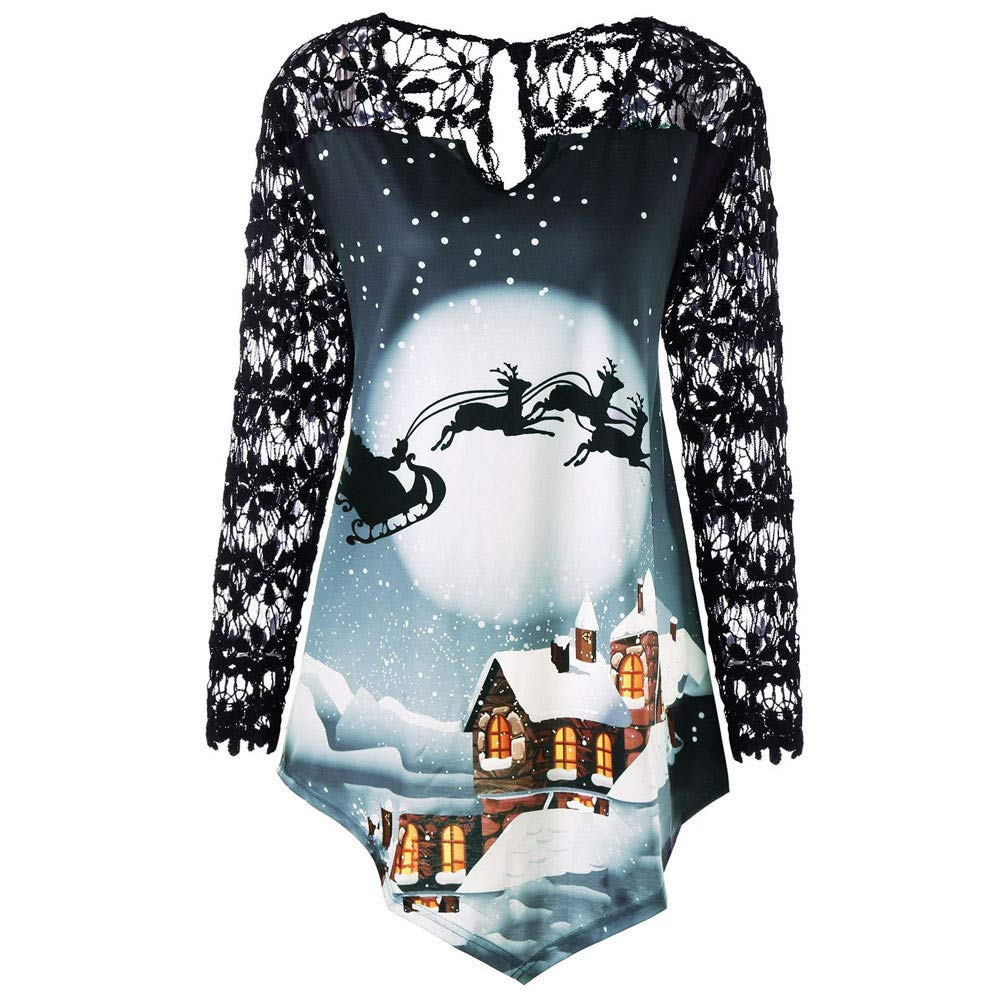 Damark Women Long Sleeve Christmas Printed Lace Patchwork Asymmetrical Oversized Tops Casual Xmas Loose T-Shirt Blouse Plus Size Clothes DamarkTop1001