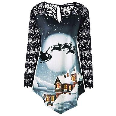86e7df2facac26 BETTERUU Women Merry Christmas Shirts Plus Size Printed Lace Patchwork  Asymmetrical T-Shirt Tops