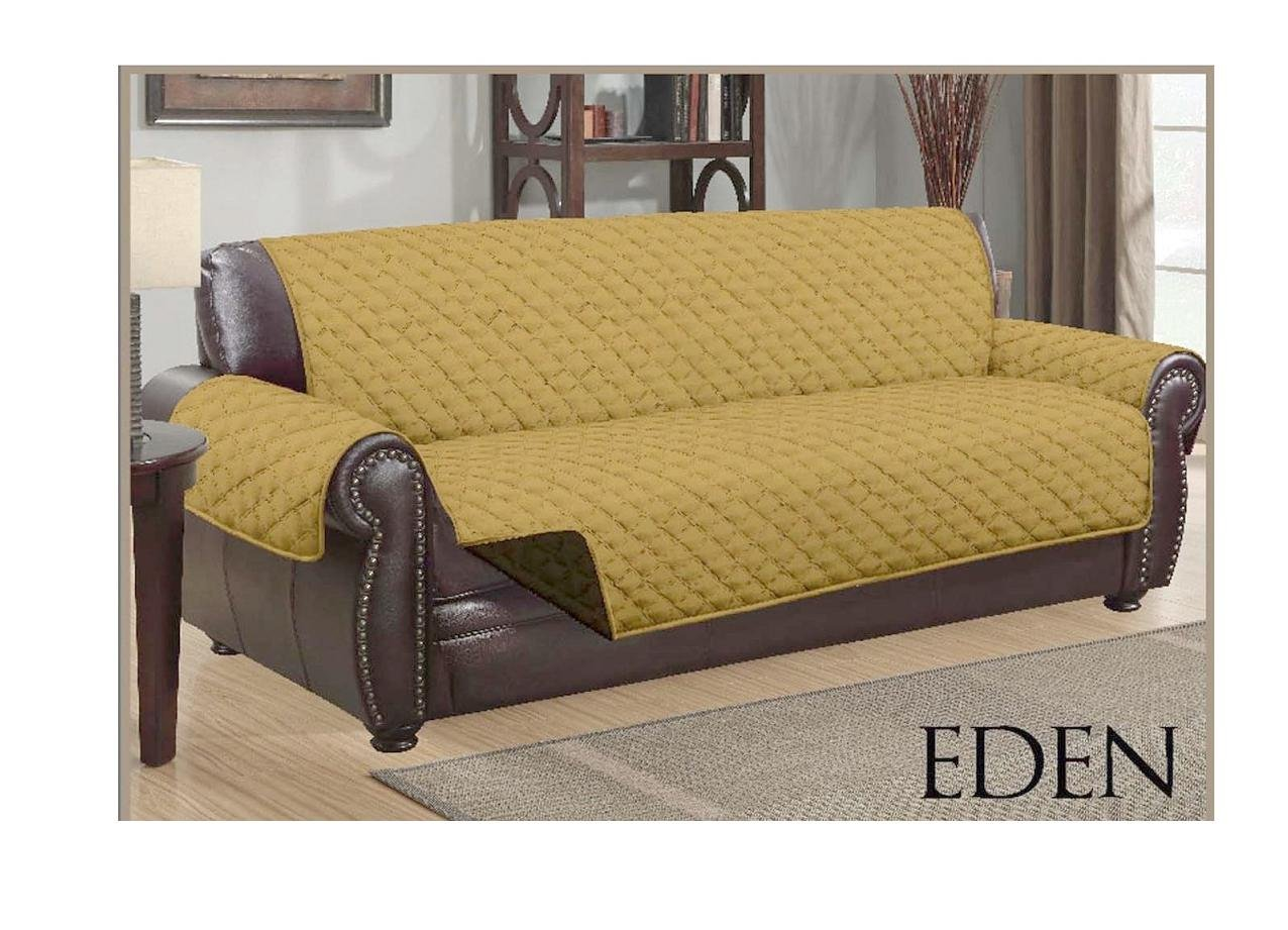 DINY Home & Style Sofa Reversible Quilted Furniture Protector Two Fresh Looks in One Water Resistant (Gold/Chocolate)