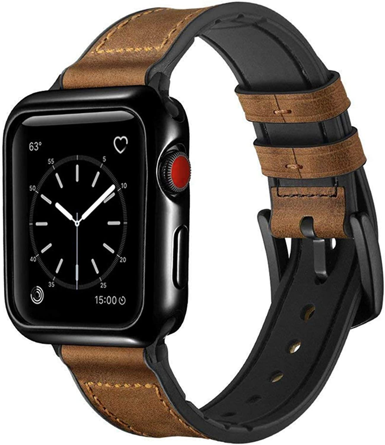 Speidel 42mm Light Brown Luxury watchband with Black AdaptersBuckle and Case Protective Cover for Smart Watch