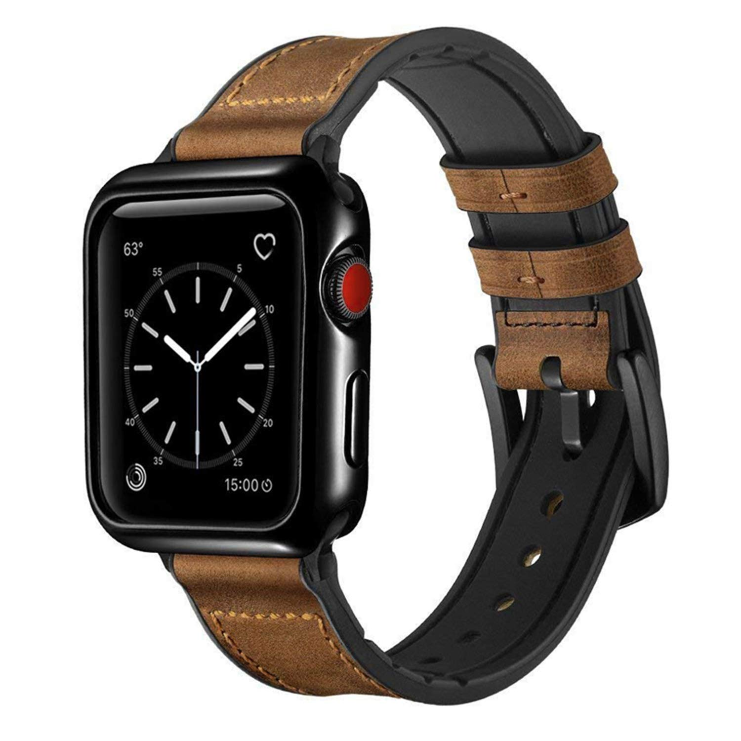 Speidel 42mm Light Brown Luxury watchband with Black Adapters, Buckle and Case Protective Cover for The Apple Watch Series 1,2,3,4 & 5 by Speidel