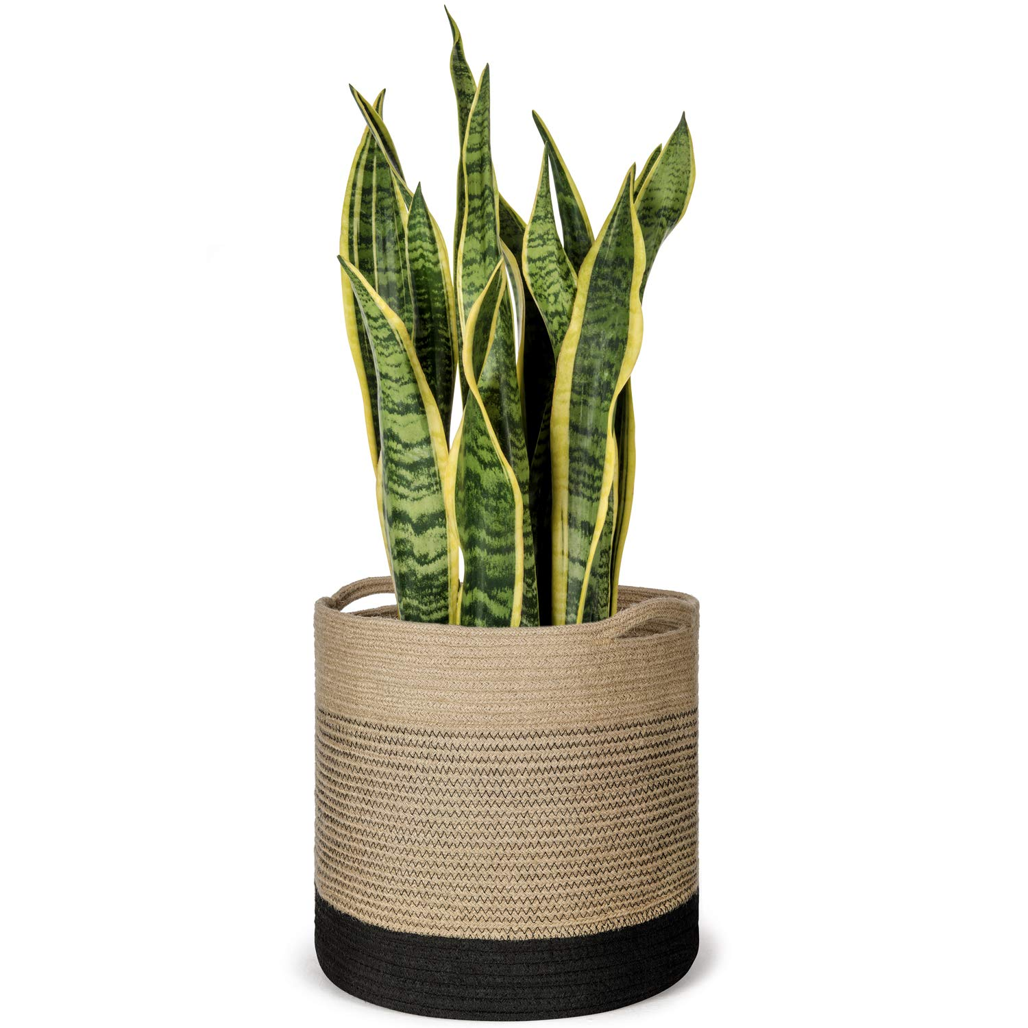 Mkono Jute Plant Basket Modern Indoor Planter Up to 11 Inch Pot Woven Storage Organizer with Handles Home Decor, 12 x 12