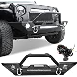 Rock Crawler Front Bumper Compatible with 07-18 Jeep Wrangler JK and JK Unlimited, Built-in 90W LED Light Bar w/ 2x 60W Fog L