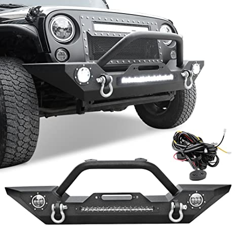 ledkingdomus rock crawler front bumper for 07 18 jeep wrangler jk and jk unlimited, built in 90w led light bar w 2x 60w fog light, wiring harness, Crawler Harness with Worm