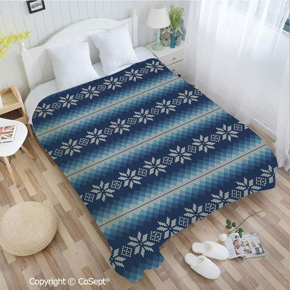 PUTIEN Soft Flannel Blanket,Traditional Scandinavian Needlework Inspired Pattern Jacquard Flakes Knitting Theme Decorative,Perfect for Camping,Picnic & The Beach with a Waterproof(72.83'' x 78.74''),