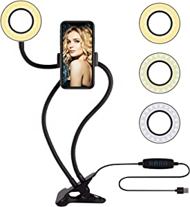Selfie Ring Light with Cell Phone Holder Circle Lights LED Lighting for Photo Photography Vlogging Video