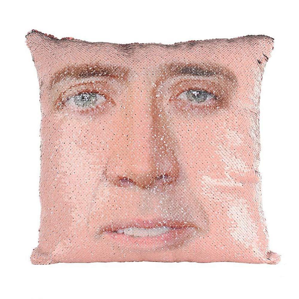 oobest Nicolas Cage Sirena Sequins Pillow Magic Throw Pillow Case Decorativo Cambio de Color Funda de cojín
